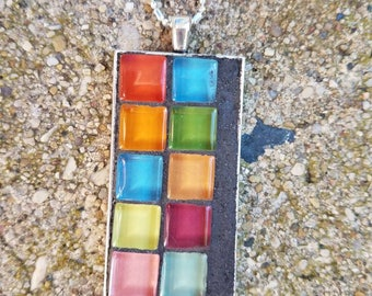 Mosaic Necklace,sterling silver chain