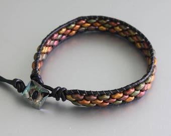 Wrap Beaded Bracelet - Czech Duos Bracelet - Friedship Bracelet -Teen Bracelet - Hippie Bracelet - Boho Bracelet