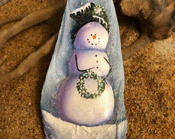 Oyster sea  shell blue beach sparkling snowman ornament #733