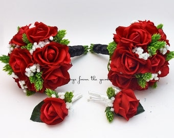 Wedding Party Bouquets and Boutonnieres Real Touch Red Roses Bridesmaids Bouquets with Hops and Baby's Breath Accents