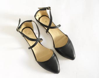 Minna Criss-Cross pointed skimmers flats (handmade to order)