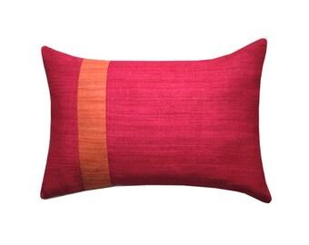 Silk Color Block Lumbar Pillow, Pillow Covers, Oblong Cushions, Geometric Cushions, Graphic Pillows, Fuchsia Cushions, Minimalist Home Decor