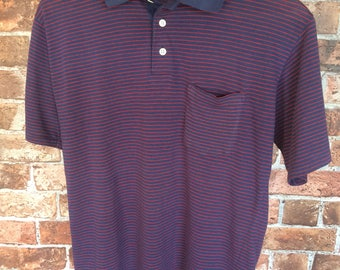 70s / 80s Vintage Navy Blue Red Striped Polo Shirt Polyester Cotton Size Small Dominican Republic