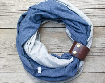 Infinity scarf with leather cuff, infinity scarves ZOJANKA, scarf with leather strap, scarf with leather cuff, gift for her, gift idea