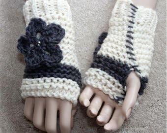 Crochet Fingerless Gloves, Arm Warmers, Fingerless Mittens, Womens Cream Gloves, Teens Girls Wrist Warmers, Hand Knit Gloves