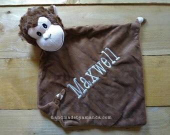 Brown Monkey Minky Blanket - Brown Monogrammed Monkey Blankie - Monogram Monkey Baby Gift - Security Blanket - Cubbie Blanket