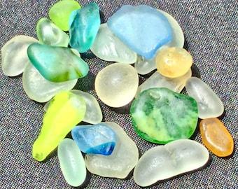 A-Sea Glass or Beach Glass of Hawaii the RAREST! Unique 2-tones! YELLOW! Ice BLUE! Sea Glass Bulk! Seaglass! Genuine Sea Glass! Seaglass