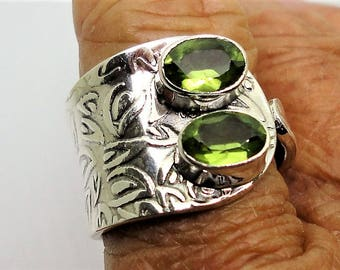 Green Peridot Wide Wrap Ring 2 Faceted  Oval Apple Green Peridot Gemstones Sparkle in an Adjustable Wide Leaf Design Sterling Ring Sz 8 to 9