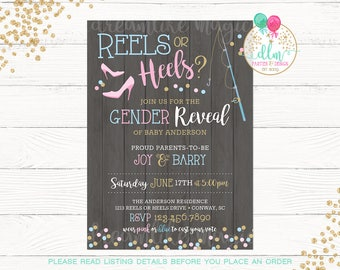 Reels or Heels, Invitation, Gender Reveal Invite, Gender Reveal Party, Blue or Pink, Chalkboard, DIY, Printable or Printed, Gender Reveal