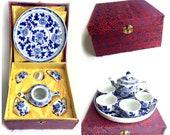 Children's Asian 7pc Tea Set in Silk Box, Asian Toy Tea Set, Boxed Children's Tea Set, Blue White Floral Tea Set, Cobalt Blue Tea Set