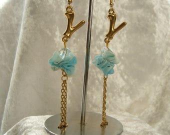 Earrings blue chiffon