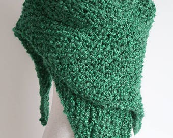 Extra Large Size Emerald Green Malachite Color Chunky Knitted Shawl Wrap Stole with Tassel