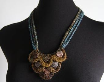 FREE US SHIPPING - Dark Aquamarine Turquoise  Mustard Khaki Olive Color Necklace Fiber Crochet Bib Style Necklace with Metal Hearts Pendants