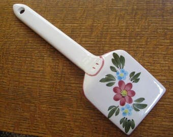 """Hand Painted Spatula Porcelain Vintage Serving Kitchen Floral Wall Decor 12"""" Ceramic Utensil Beautiful"""
