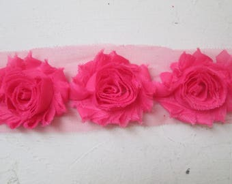 Pink Shabby Flowers, Chiffon Rose Trim, DIY Wedding Flower Supplies, DIY Fabric Flowers for Jewelry, Bridal Garters, Headband Supply