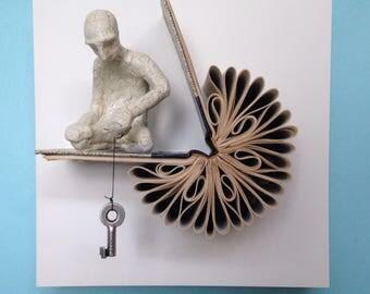 Where Are the Open Doors (Original Book Art Sculpture)