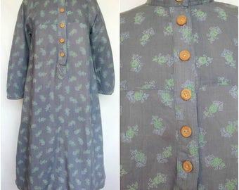 1970s Cotton Dress, Karavan, Made in India, Resist Dyed Floral Print, Tent Shape, Small/Medium