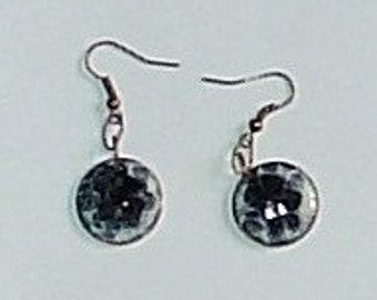Black and White Torch Enamel Earrings
