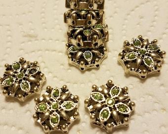 Swarovski Peridot Green Crystal and Silver Sliders/Spacers
