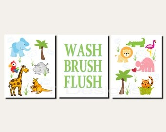 Animal Bathroom Art, Kids Bathroom Art, Jungle Animals Bathroom Art, Wash, Brush, Flush, Elephant Bathroom, Set of 3, Prints or Canvas