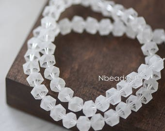 70pcs Frosted Faceted Crystal Glass beads 8mm, Transparent Clear Matte- (TS83-2)