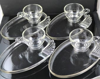 Set of 4, Columbia Pattern, Crystal Snack Plates with Cups (Rarely Found)