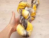 Hand dyed yarn - Superwash merino, nylon, sock yarn, hand dyed sock yarn, speckles, yellow, grew brown