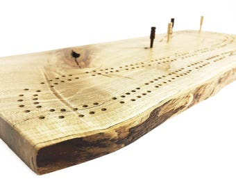 """Wood Cribbage Board - FAST SHIPPING - Optional Engraving - Live Edge Maple Cribbage Board - Two Track 120 Holes - 16-3/4"""" x 7-1/4"""" x 5/8"""""""