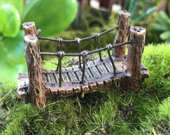 SALE Micro Mini Fairy Garden Suspension Bridge,  Fairy Garden Accessory, Home & Garden Decor, Terrarium, Topper, Shelf Sitter, Enchanted Gar