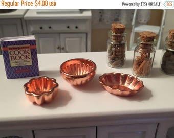 SALE Miniature Copper Jelly Molds, 3 Piece Set, Dollhouse Miniatures, 1:12 Scale, Dollhouse Kitchen Accessory, Kitchen Decor, Mini Copper