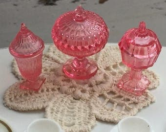 SALE Candy Dish Set, Dollhouse Miniatures, 1:12 Scale, Dollhouse Accessories, Decor, Pink Dishes, Miniature Dishes