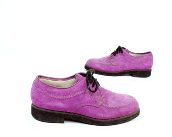 70s Suede Oxford Shoes Purple Suede Lace Up Tie Vintage 1970s 1980s Womens Size 7 Hush Puppies