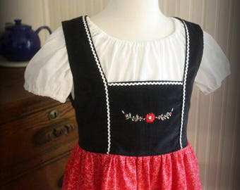 Oktoberfest Hand Embroidered Dirndl Size 5/6 -Ready to Ship