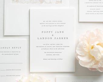 Poppy Letterpress Wedding Invitations - Deposit