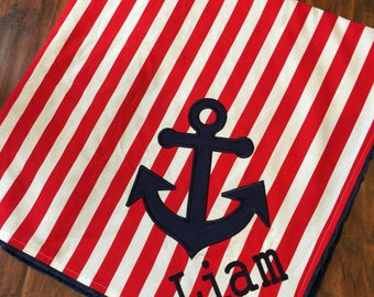 Anchor Baby Blanket- Personalized Baby Blanket- Nautical Baby Blanket- Minky Blanket- Nautical Nursery