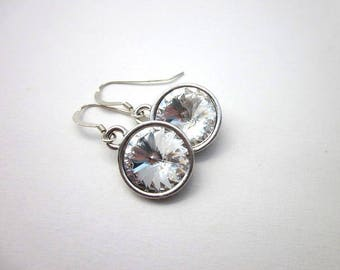 Bridesmaid Crystal Earrings -- Clear Crystal Drops -- Clear Crystal Bridal Earrings -- Rivoli Earrings -- Sparkling Swarovski Crystal Drops