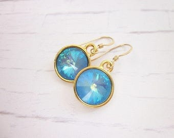 Ocean Blue Earrings -- Light Blue Crystal Earrings -- Pastel Blue Earrings -- Gold & Light Blue Earrings -- Ultra Blue Swarovski Earrings