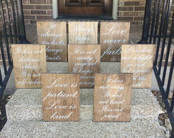 Wedding Aisle Signs Love Is Patient Love Is Kind Wood Signs Wedding Aisle Decoration Love Is Patient Wedding Aisle Signs Set of 8 Ceremony