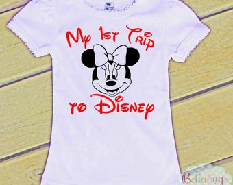My 1st Trip to Disney - Tshirt - Girl Shirt - Minnie - Disney