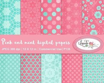 65%OFF SALE Digital paper, pink and mint digital paper, vintage digital paper, textured digital paper, patterned scrapbook paper. commercial