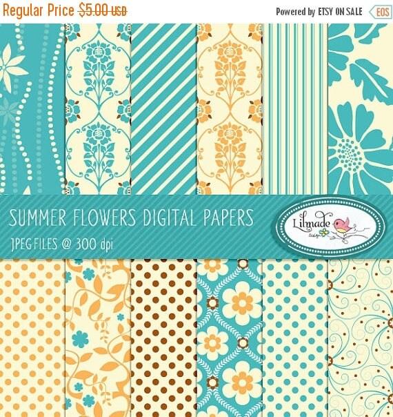 65%OFF SALE Digital papers, digital scrapbook paper, patterned scrapbook paper, floral digital paper, commercial use, P68