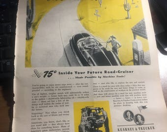 1943 futuristic car with cooling airconditioning ad. Milwaukee machine tool Kearney and Trecker