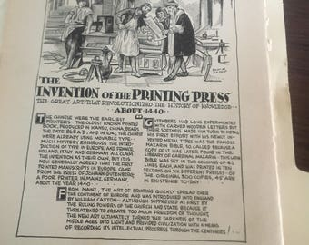 The invention of the printing press. 1933 book page history print illustration . Art frameable history