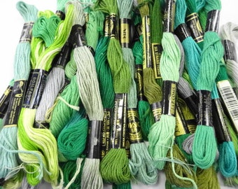 Shades of Green Estate Lot Variety Colors Vintage Embroidery Floss Thread Sewing Craft Notions Skeins (36) Each
