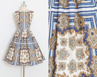Vintage 50s Dress | 1950s scarf print cotton | sun dress | s/m | 6002