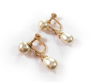 Vintage Van Dell Gold Filled Glass Pearl Screw Back Earrings Dangle Drop