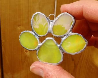 Yellow pet paw - paw print ornament - stained glass ornament - pet Memorial ornament - puppy paw - glass gift - pet paw print - pet lover