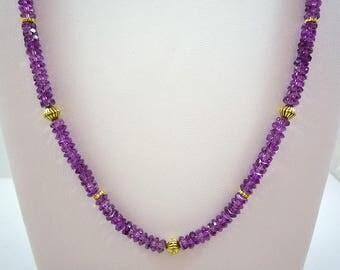 Purple Agate Necklace Purple Gemstone Necklace Purple Bead Necklace Purple Gold Necklace Purple Fire Agate Necklace Light Purple Strand
