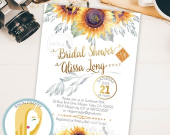 Sunflower Bridal Shower Invitation, Sunflower Invitation, Sunflowers, Watercolor, Rustic, Country, DIY, Printed or Printable Invitations