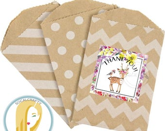Woodland Birthday Party Favor Tags, Woodland Animal Favor Tag, Forest Favor Tags, Deer Favor Tags, Floral, DIY Printable Party Supplies